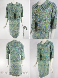60s Blue and Green Paisley Shift Dress and Jacket – med, lg