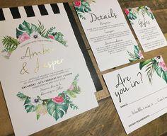PRINTED tropical wedding invitation suite printed wedding