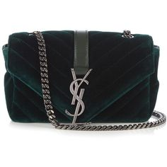 Saint Laurent Monogram baby quilted-velvet cross-body bag (€1.385) ❤ liked on Polyvore featuring bags, handbags, shoulder bags, dark green, quilted chain shoulder bag, evening handbags, crossbody shoulder bags, monogrammed handbags and quilted crossbody