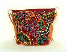 Schultertasche aus Leder mit Mola-Dekor von MOLA-BAGS auf DaWanda.com