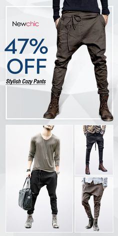【US$27.75】Mens Fashion Harem Pants /Baggy Slacks Trousers /Casual Jogger Pants#running #casual #style