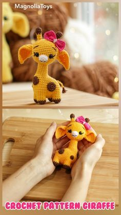 Crochet Giraffe Pattern, Crochet Animal Patterns, Stuffed Animal Patterns, Crochet Patterns Amigurumi, Crochet Animals, Crochet Dolls, Crochet Baby, Knit Crochet, Crochet Disney