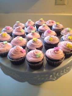 Chocolate cupcakes over buttercream frosting ;)