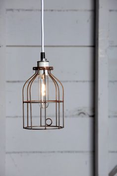 Industrial Lighting  Vintage Rust Wire Cage Light by IndLights, $75.00