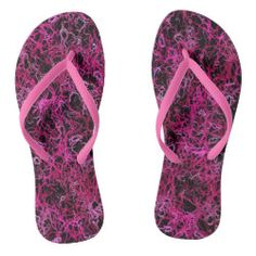 Hot Pink and Black Electric Lines 5078 flip flops by Khoncepts