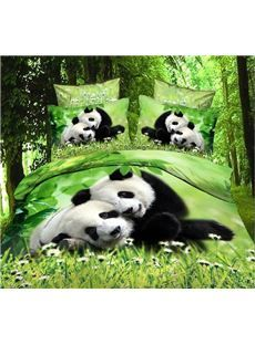 New Arrival Cute Snuggled Pandas Print 4 Piece Bedding Sets/Comforter Sets