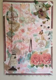 Pretty in pink mixed media canvas jewelry organizer Mixed Media Canvas, Jewelry Organization, Pretty In Pink, Vintage World Maps, Art, Art Background, Jewelry Storage, Kunst, New Media Art