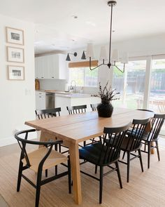 Dinning Room Tables, Wooden Dining Tables, Modern Rustic Dining Table, Black Dining Chairs, Dining Room Modern, Light Wood Dining Table, Ikea Dining Room, Dining Room Interior Design, Fireplace In Dining Room
