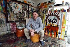 Poul Pava in his atelier Galleries, Street Art, Studios, Painting, Atelier, Kunst, Painting Art, Paintings, Painted Canvas