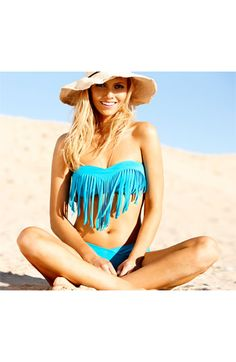 Blue crush! Roxy Fringe Bikini Top & Bottoms