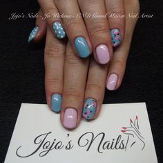 CND Shellac Manicure with hand painted nail art
