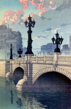 Kawase Hasui『日本橋(夜明)』 東海道風景選集 1940年