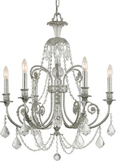 Traditional Crystal Chandeliers - Brand Lighting // since we're using some silvers, we might be able to get away with a silver finish? Or should we still ask if we can paint the existing one?