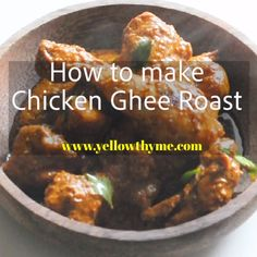 Chicken Ghee Roast Authentic Mangalorean Chicken Ghee Roast or Kundapur Chicken - South Indian Style Chicken dish made with Clairified Butter,whole spices,tamrind and Sugar. Mangalorean Chicken Ghee Roast made with red chillies and kokum South Indian Chicken Recipes, Indian Chicken Dishes, Spicy Chicken Recipes, South Indian Food, Veg Recipes, Curry Recipes, Indian Food Recipes, Healthy Recipes, Chicken Recipes Kerala Style