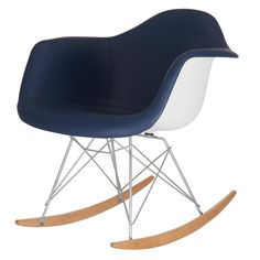 Meelano Rocking Chair in Vegan Leather, Twin, Navy Blue Toddler Furniture, Toddler Chair, Living Room Seating, Living Room Chairs, Wooden Rocker, Online Furniture Stores, Modern Kids, Mid Century Furniture, Chair Design