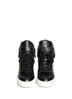 ASH'Alfa' embossed ribcage leather wedge sneakers