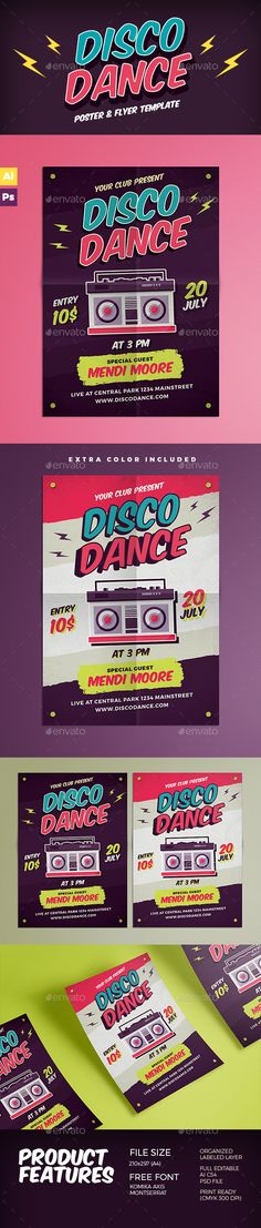 Disco Dance Poster Flyer — Photoshop PSD #magazine #music • Available here → https://graphicriver.net/item/disco-dance-poster-flyer/15608465?ref=pxcr
