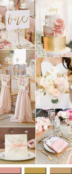 2017 the Best Gold Wedding Colors Combos Trends is part of Gold wedding colors As an elegant and luxurious wedding color, gold is hot and popular, especial for the new year 2017 wedding trends And - Pink Wedding Colors, Pink And Gold Wedding, Blush Pink Weddings, Blush And Gold, Wedding Color Schemes, Rose Gold, Pink Champagne Wedding, Blush Bridal, Colors For Weddings