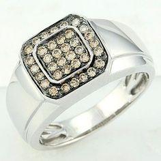 Champagne diamond mens ring