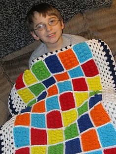 Crochet Lego Blanket  This is what I need to do with Matt's blanket, add a large border!