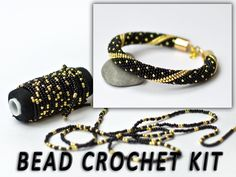 DIY Kit Bracelet Black Gold Bracelet Needlework Kits Beading Kit Bracelet Jewelry DIY Kit Beaded Bracelet Mothers Day Gift for Mom DIy Gift With this Bead crochet kit bracelet you will create your own bracelet! You can also make this Bead crochet kit a gr Diy Gifts For Mom, Gifts For Family, Diy Gifts Etsy, Gold Armband, Armband Diy, Diy Kit, Jewelry Making Kits, Seed Bead Bracelets, Gold Bracelets