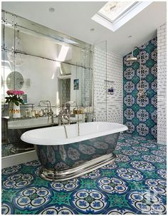 Victorian-style Philadelphia Design! Cement Tile is great for use in bathrooms given its beauty, versatility in concrete tile designs, and durability. Contact Rustico Tile and Stone for a price estimate. We offer wholesale prices and we ship WORLDWIDE!  Shop bathroom tiles in our Cement Tile MeaLu Collection. #cementtile