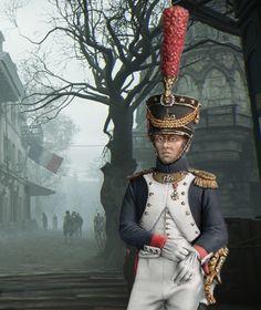 Офицер фузилеров.  Средняя Гвардия Наполеона, Франция, 1809.   РВ816, М1:30.