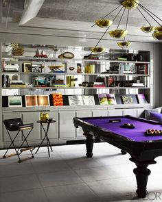 Purple Snooker Table.  playing tables, gaming room, interior design, home décor ideas, contemporary living room snooker tables, modern gaming rooms. For more inspirational ideas take a look at: www.homedecorideas.eu