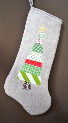 Modern Linen Christmas Stocking - Long Green patchwork tree with star