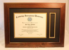 A beautiful walnut diploma frame that holds an 8.5 x 11 diploma and tassel. Say NO to mass produced frames!
