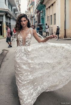 julie vino fall 2018 havana sleeveless deep plunging neckline full embellishment sexy romantic soft a  line wedding dress open v back chapel train (5) mv -- Julie Vino Fall 2018 Wedding Dresses