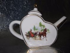 Miniature Imperial Treasure Teapot Horse Carriage Hand Painted Porcelain 007 | eBay