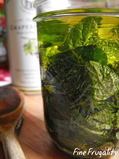 homemade peppermint oil (to use some of my fresh mint from the garden!)