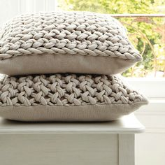 Natural Chunky Hand-Knit Cushion, The White Company
