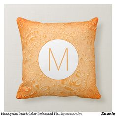 Monogram Peach Color Embossed Floral Throw Pillow