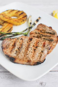 Grilled Ginger-Sesame Pork Chops with Pineapple and Scallions - a delicious way to grill pork chops!