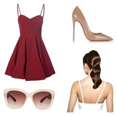 dinner date:) by lilkfo on Polyvore featuring polyvore, fashion, style, Glamorous, Christian Louboutin, Hershesons and Eloquii