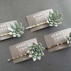 Succulent hair pins from EtenIren Polymer Clay Crafts, Polymer Clay Earrings, Clay Flowers, Handmade Jewelry, Handmade Gifts, Artisan Jewelry, Clay Charms, Clay Creations, Handmade Decorations