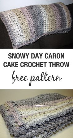 Caron Cake Crochet Blanket Free Pattern – Snowy Day Throw - Stacy's Stitches