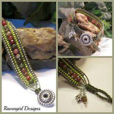 """MOSS GARDEN: 5 Row Leather Wrap Bracelet Handmade by Ravengirl Designs  https://www.Facebook.com/RavengirlDesigns"