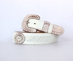 Vintage 80s White & Silver Western Belt // Unisex Cowboy Rodeo Belt. $18.00, via Etsy.