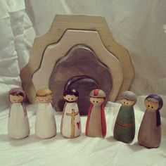 The Easter Story Woodburned Peg Dolls  Resurrection of Jesus by sugarplumhollow on Etsy, $25.00
