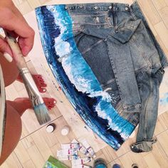 Hand painted custom Blue Wave Denim jacket for travel lovers