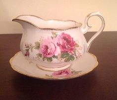 Royal-Albert-American-Beauty-Gravy-Boat-Under-plate