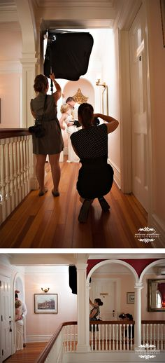 Behind the Scenes look at lighting an on location wedding portrait. Rebecca Watkins Photography
