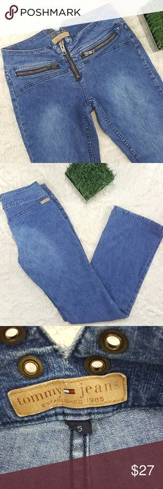90s Tommy Jeans Women's Tommy Hilfiger Boot Cut Low Rise Light Wash Jeans Size 5 VTG 90s Tommy Hilfiger Jeans Boot Cut