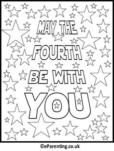 Free printable Star Wars Day - May The Fourth Be With You colouring picture. A free printable Star Wars day colouring picture for Star Wars Day on the May. Theme Star Wars, Star Wars Food, Star Wars Games, Star Wars Day, Star Wars Kids, Star Wars Quotes, Star Wars Humor, Star Wars Classroom, Anniversaire Star Wars