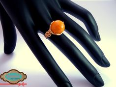 Código: anillo-0002 Anillo de oro laminado y cristal facetado color naranja. #rings
