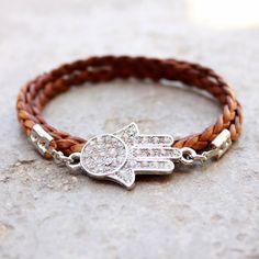 genuine Greek braided leather wrap bracelet with by lovepray, $49.00