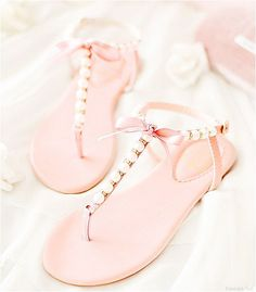 - There is nothing more comfortable and cool to wear on your feet during the heat season than some flat sandals. Coral Sandals, Cute Sandals, Cute Shoes, Me Too Shoes, Shoes Sandals, Flat Sandals, Pink Shoes, Shoe Collection, Wedding Shoes